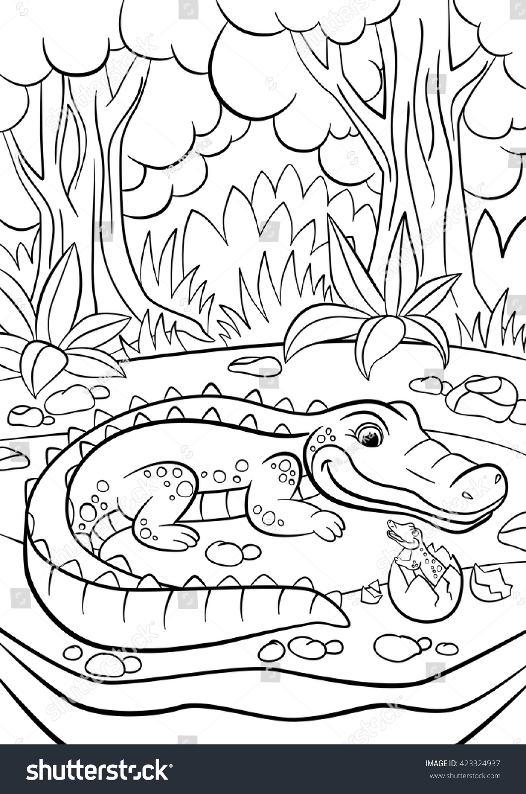 Coloring Pages Animals Mother Alligator Looks Stock Vector 423324937 ...