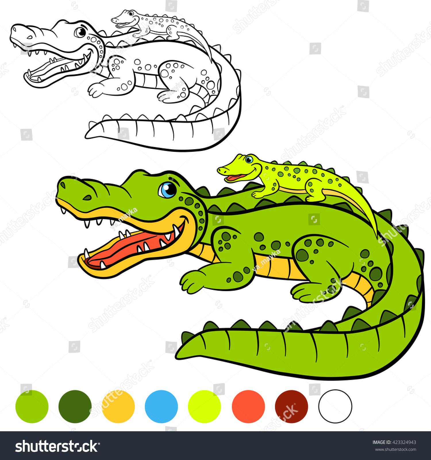 Coloring Page Mother Alligator Her Little Stock Vector (Royalty Free ...
