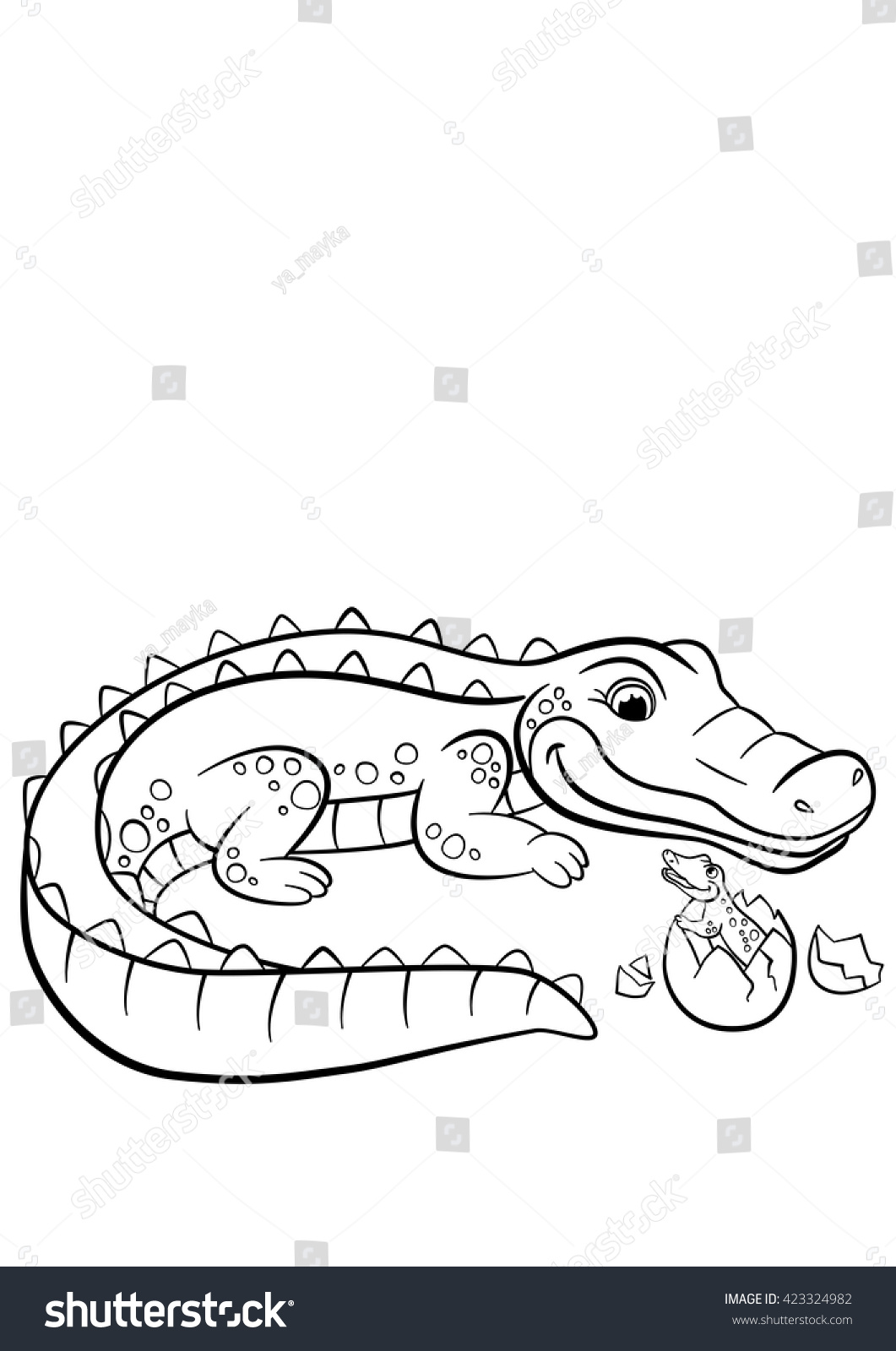 coloring pages animals mother alligator looks stock vector