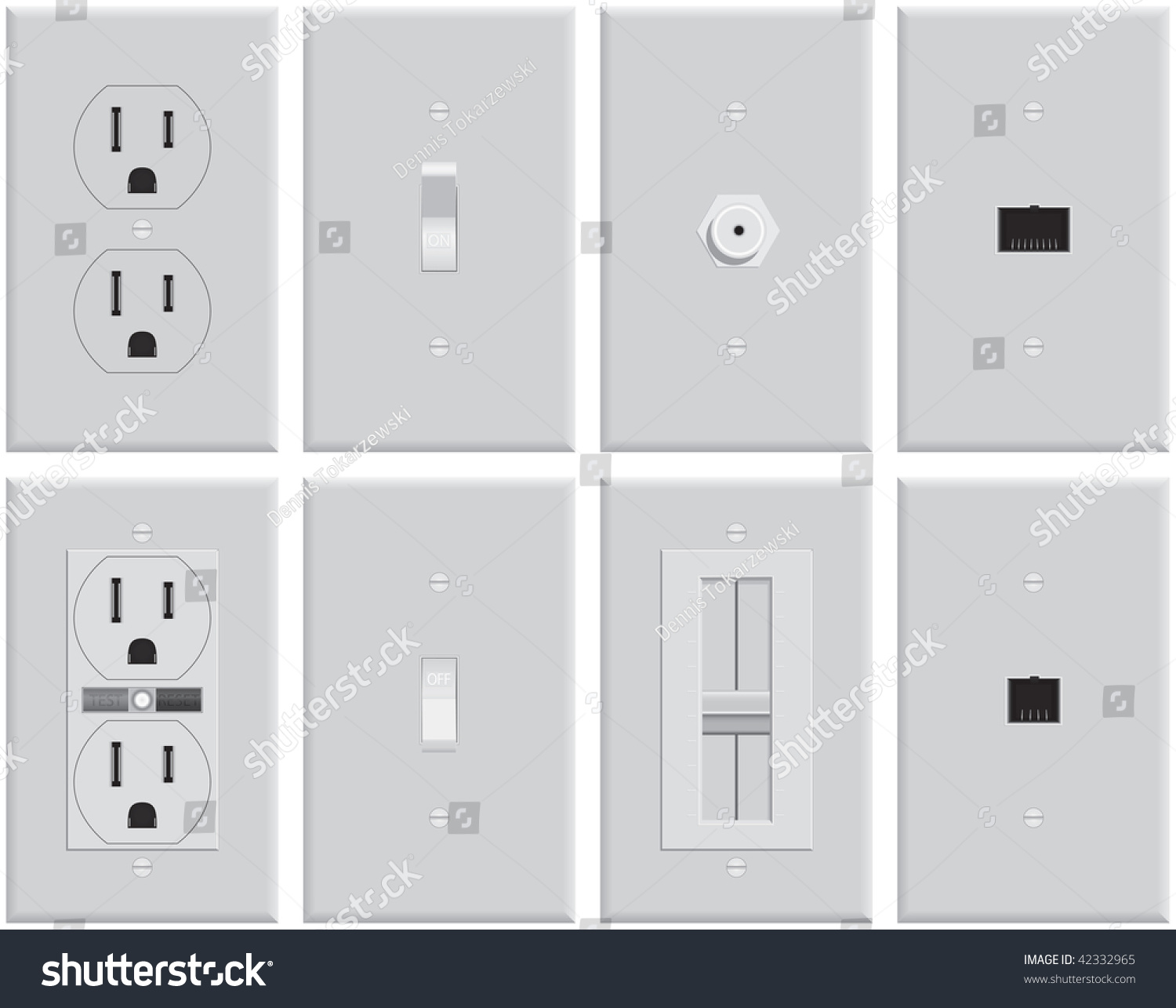 Wall Plug Plates Wall Mounted Us Electrical Plates Standard Stock Vector 42332965