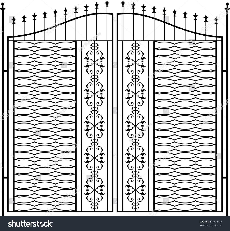 Wrought Iron Gate Door Fence Window Stock Vector 423354232