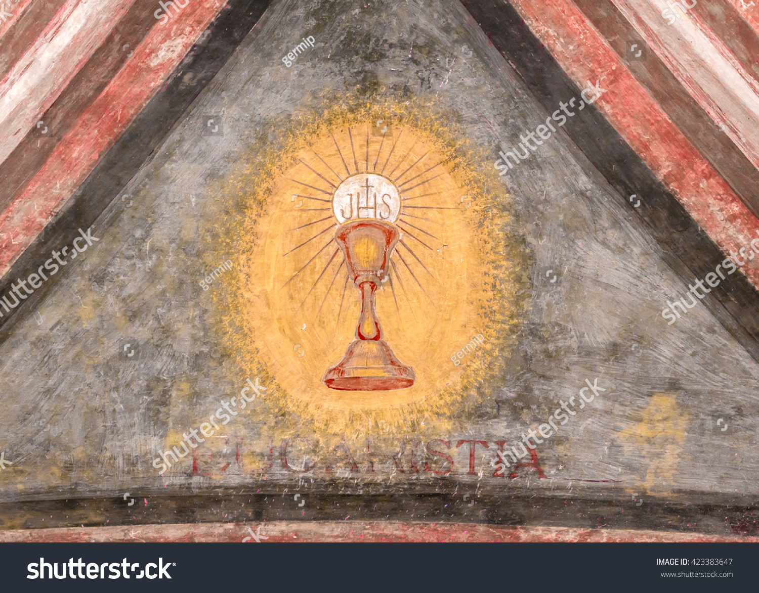 A fresco depicting the sacred chalice of Jesus Eucaristia in Italian means Eucharist Holy Communion Communion