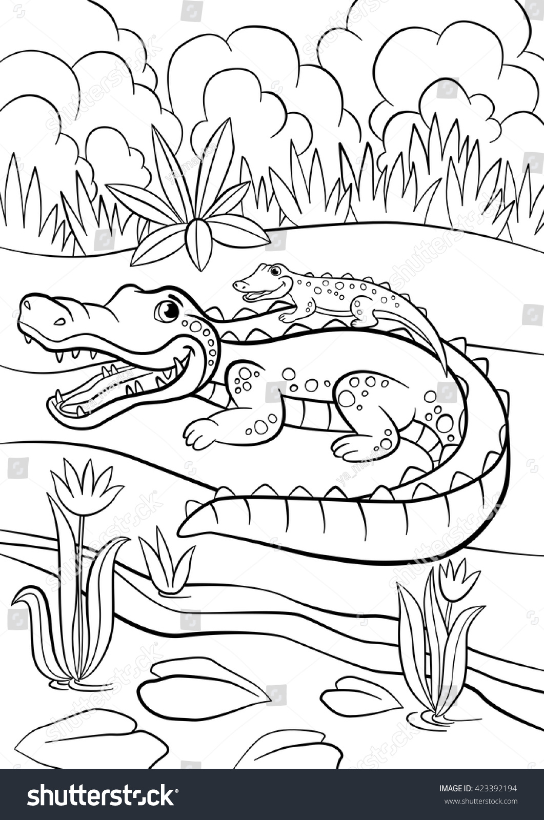 coloring pages animals mother alligator with her little cute baby alligator sitting in her