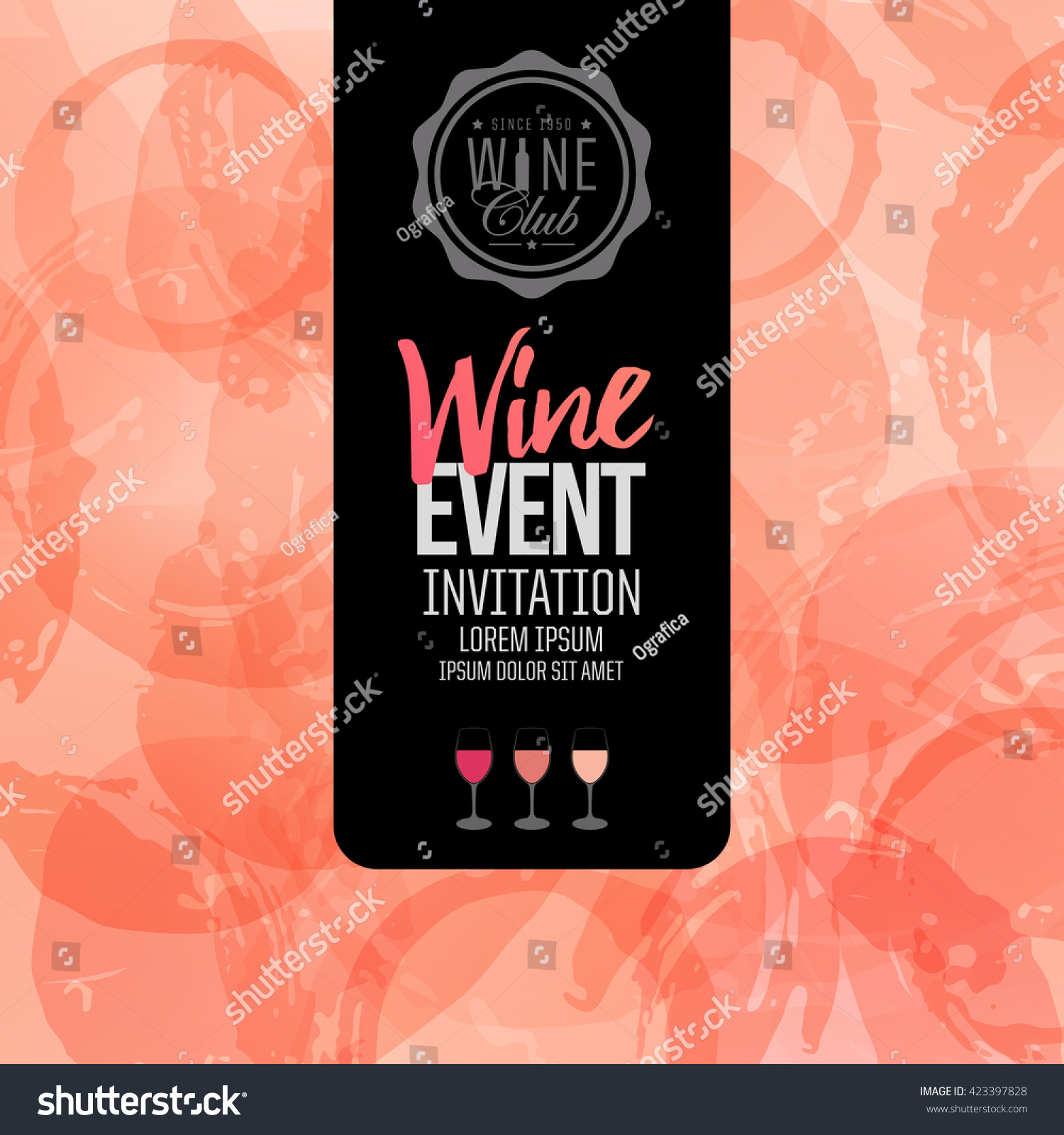 Design Invitation Leaflet Banner Your Wine Stock Vector Royalty Free 423397828