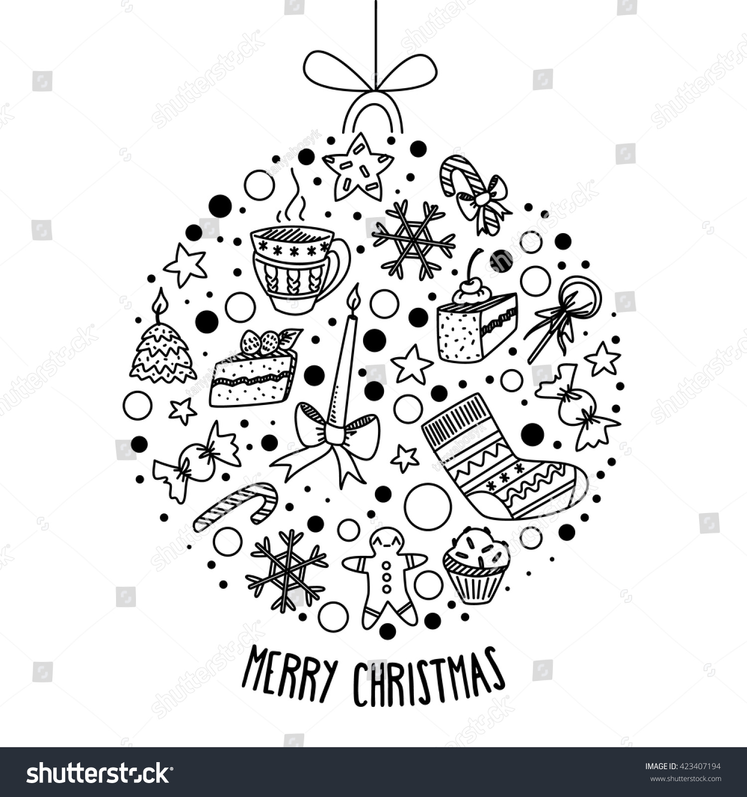 Merry christmas doodle card invitation round stock vector 423407194 merry christmas doodle card invitation round shape with different elements black on white background stopboris Images