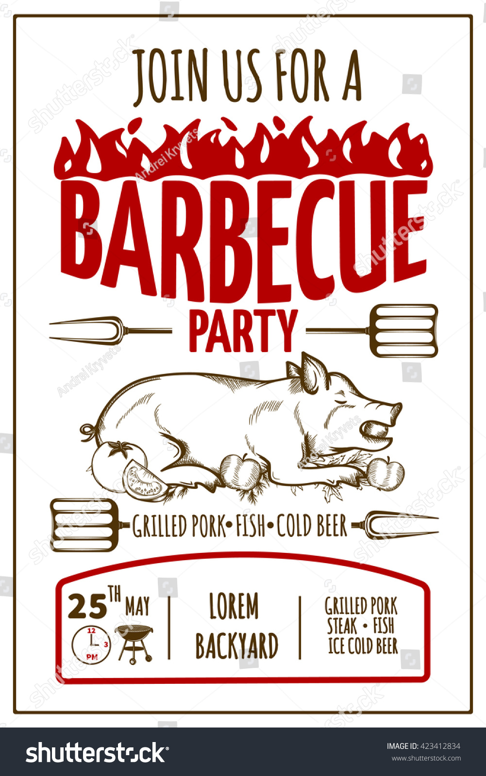 Barbeque Party Invitation Card Grilled Pork Stock Vector (Royalty ...