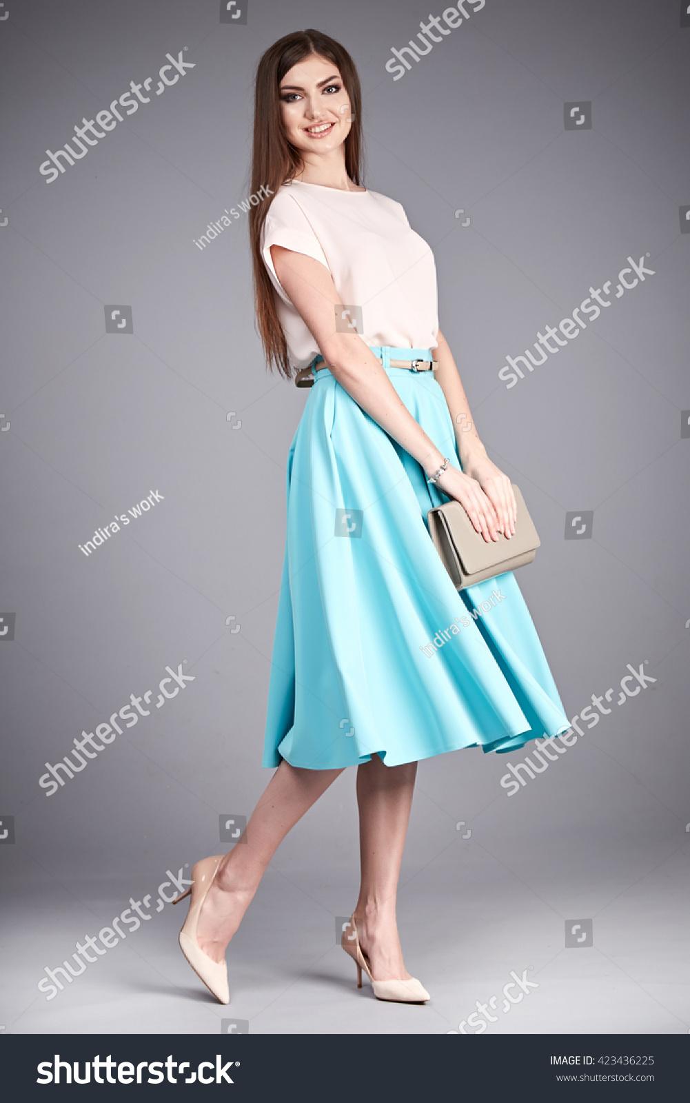 Beautiful Woman Wear Skirt Blouse Silk Stock Photo & Image (Royalty ...