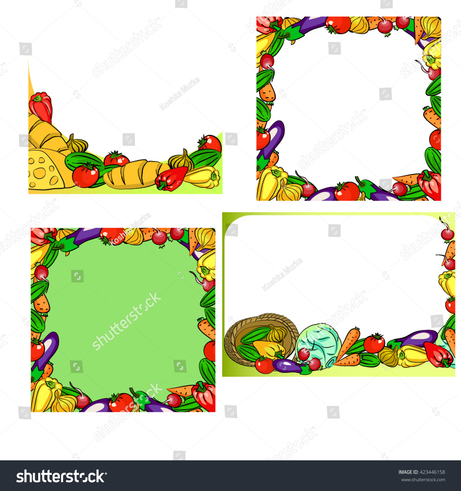 Frames Vegetables Food Stock Vector 423446158 - Shutterstock