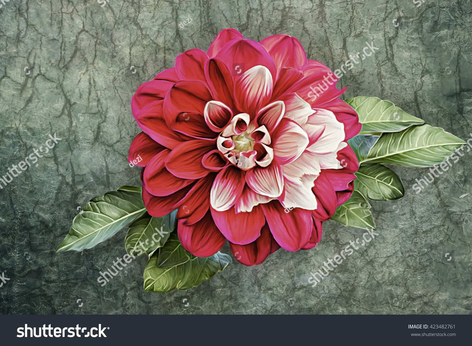 Drawing Oil Painting Dahlia Flower On Stock Illustration 423482761