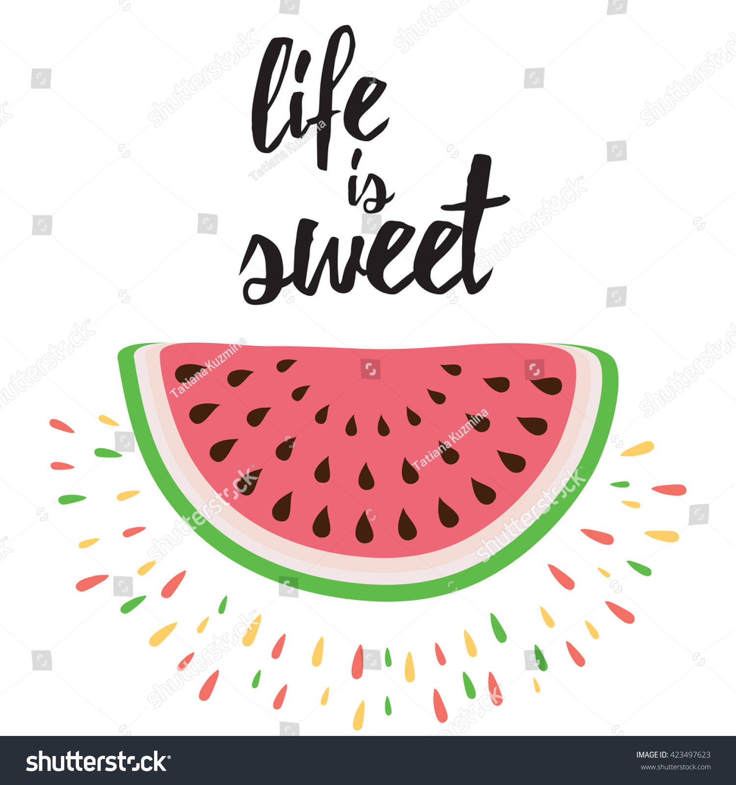 image about Printable Quotes About Life identify Vector Print Watermelon Hand Producing Estimate Inventory Vector