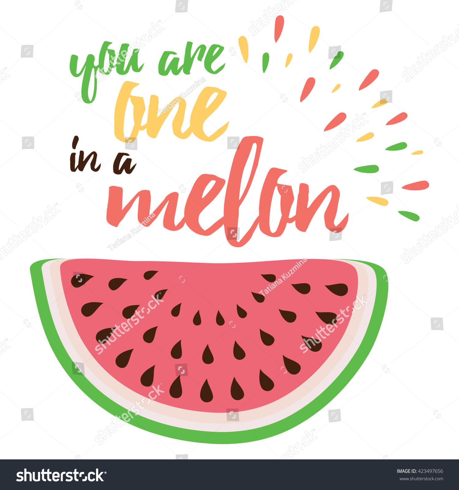 Emotional Love Print Watermelon Hand Writing Stock Vector Royalty