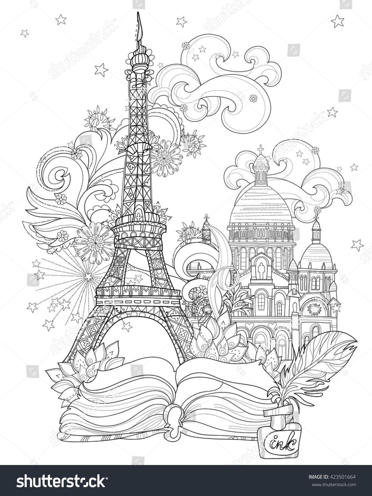 zen art stylized eiffel tower hand drawn vector illustration from story magicsketch for poster - France Eiffel Tower Coloring Page