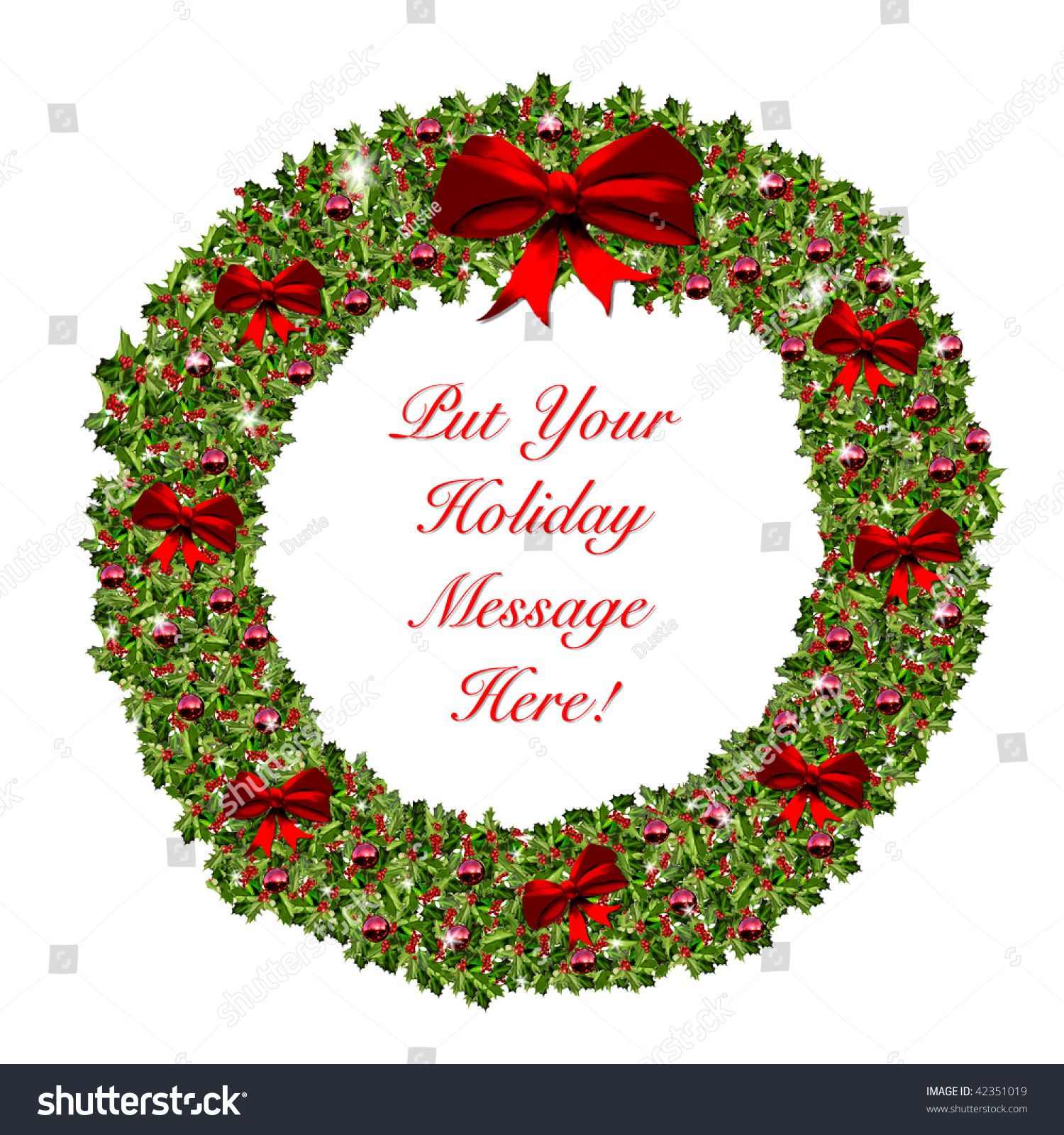 Red green christmas holiday wreath perfect stock illustration red and green christmas holiday wreath perfect for seasons greeting and personalized message to friends kristyandbryce Choice Image