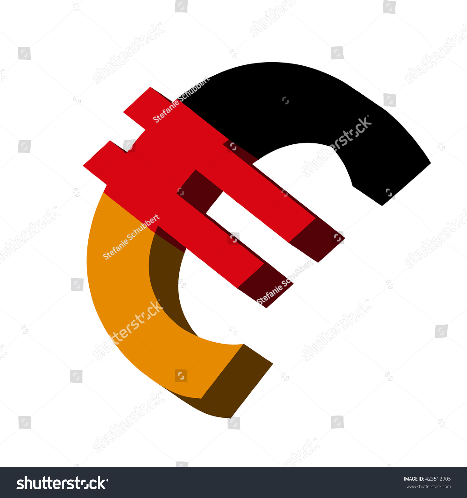 3 D Illustration Euro Symbol Germany Flag Stock Vector Royalty Free