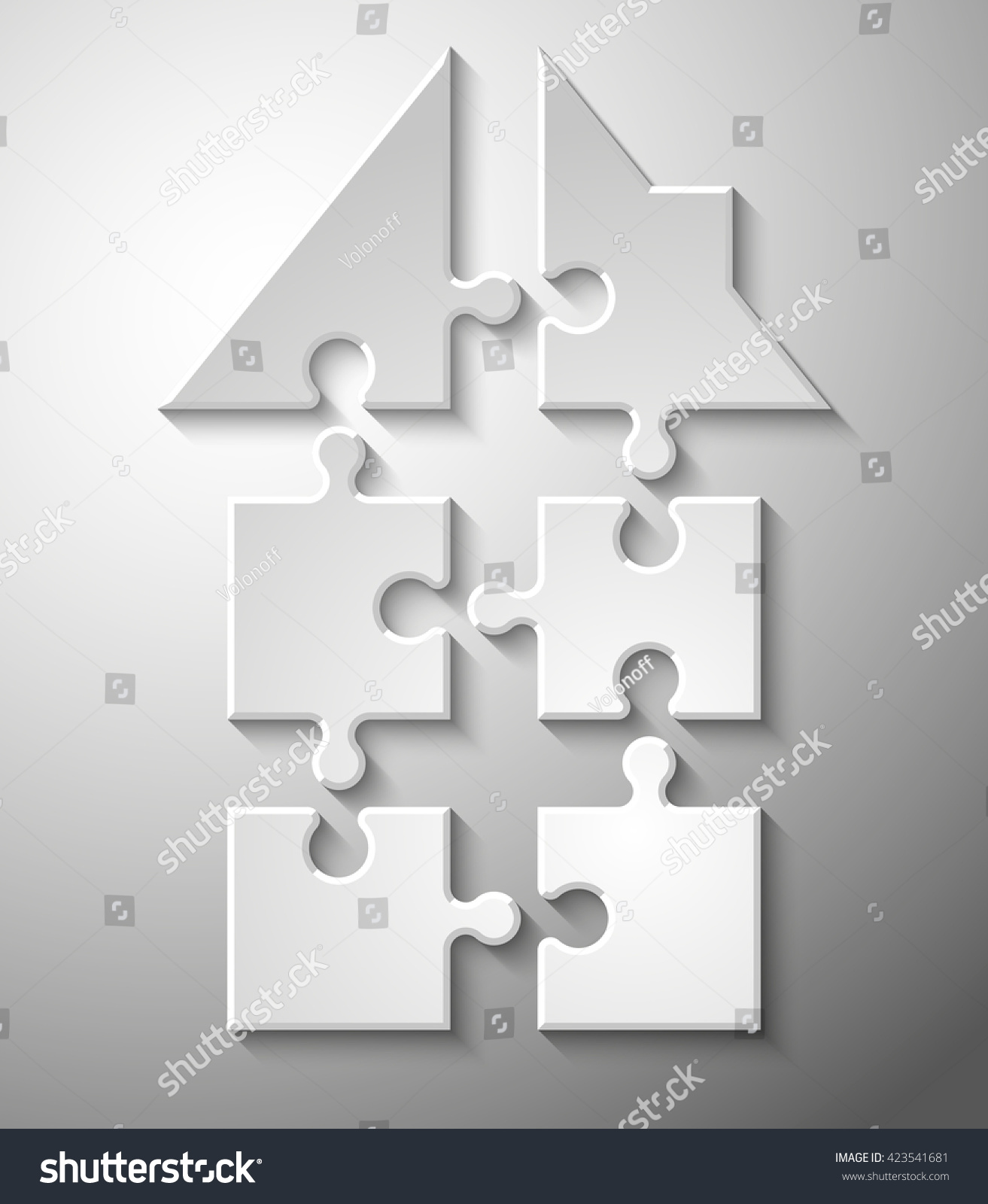 Puzzle HOUSE Six Piece Flat Infographic Stock Vector HD (Royalty ...