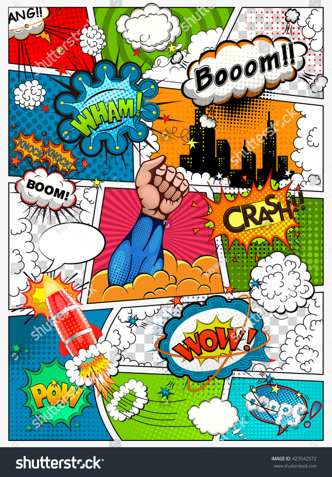 Comic Book Page Divided By Lines Stock Vector 423542572