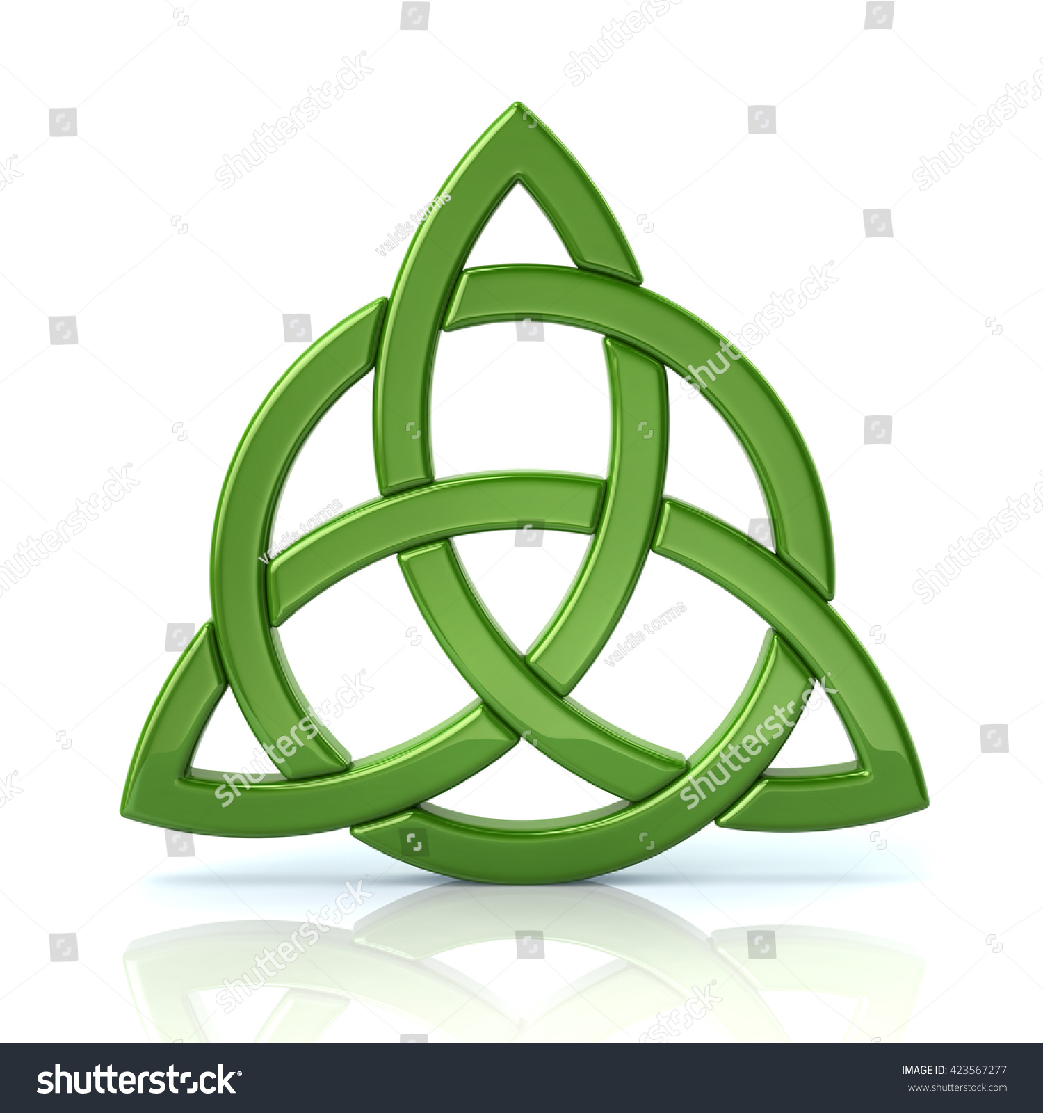 Green Celtic Trinity Knot Isolated On White Background Ez Canvas
