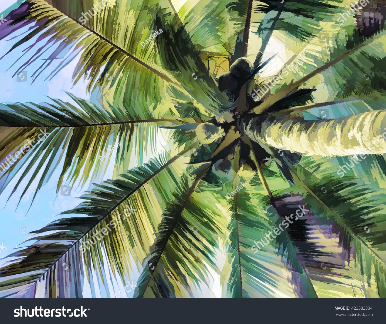 Palm Tree Leaf Crone View Ground Stock Illustration 423583834 ...