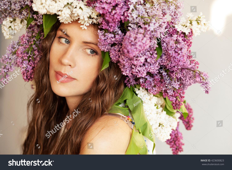 Beautiful Tender Woman Big Flower Crown Stock Photo Edit Now