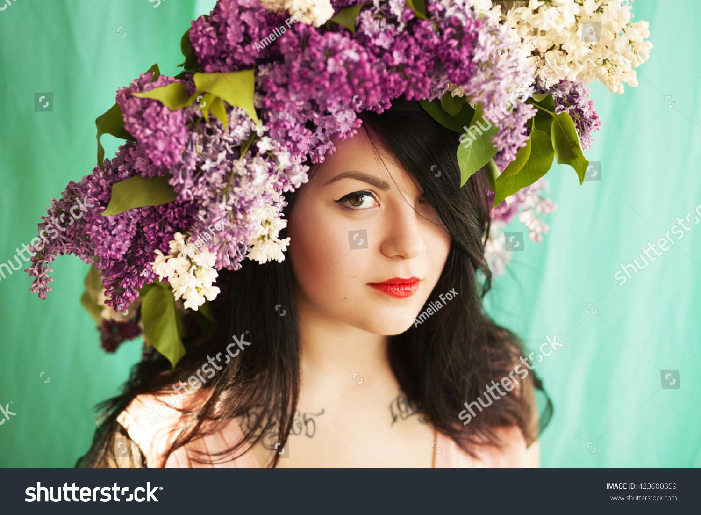 Beautiful tender brunette big flower crown stock photo edit now beautiful tender brunette in big flower crown izmirmasajfo