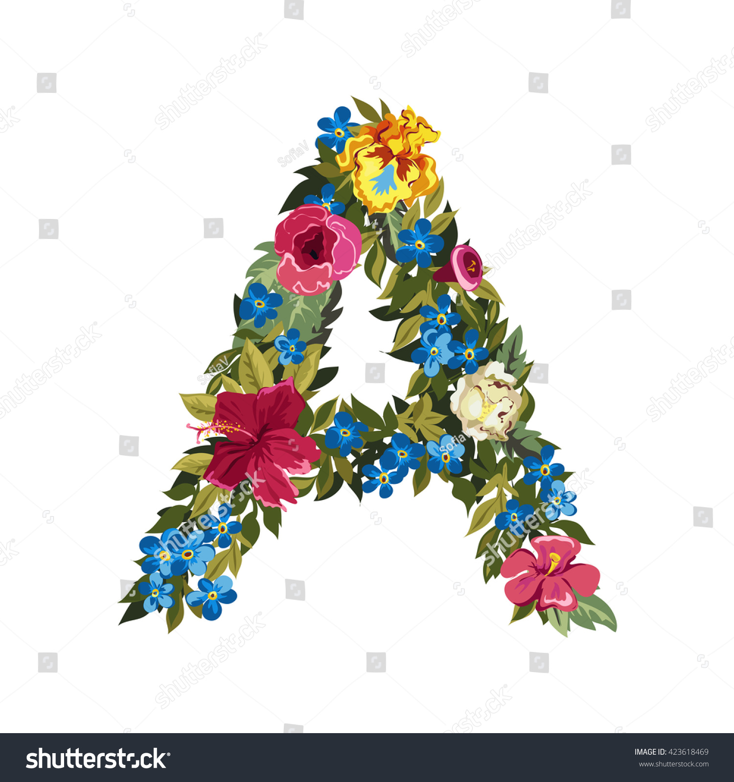 A Letter Flower Capital Alphabet Colorful Font Uppercase Vector Illustration Grotesque