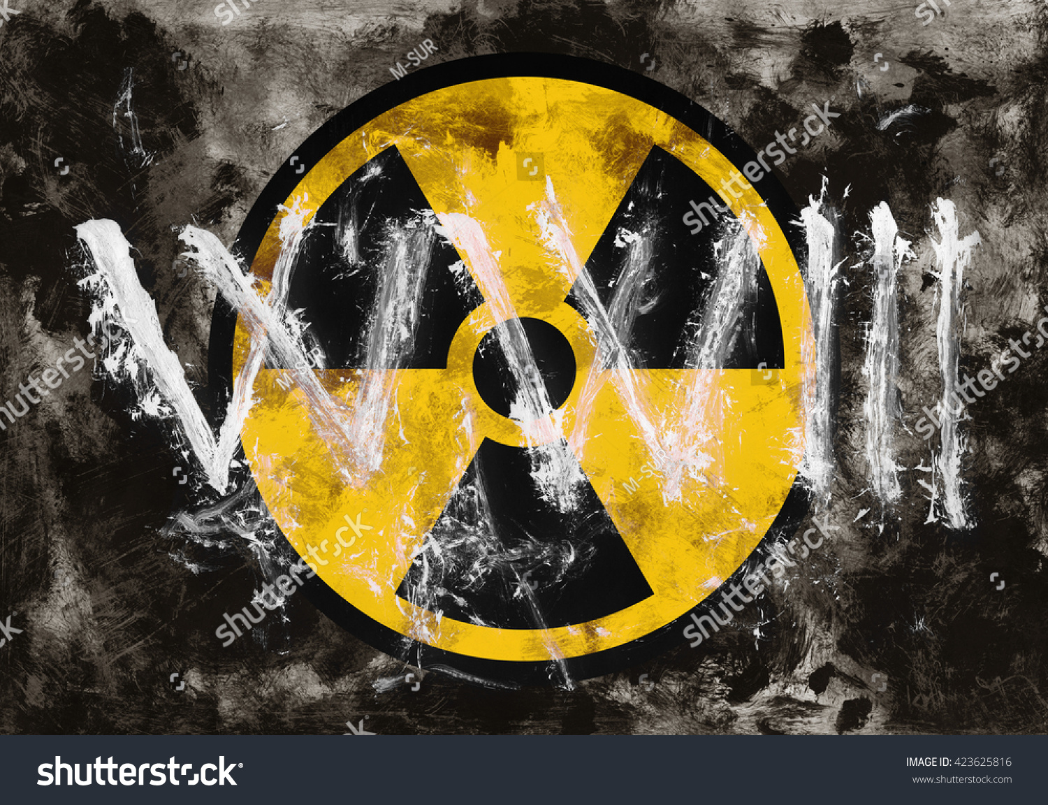 Text Ww 3 Symbol Radioactivity On Dark Stock Illustration 423625816