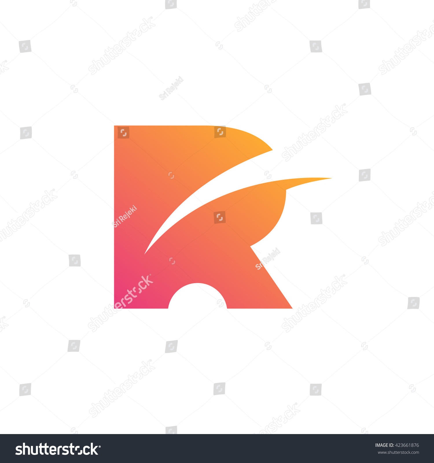 Stylish Letter R  Rectangle Icon  Creative Design. Stylish Letter R Rectangle Icon Creative Stock Vector 423661876