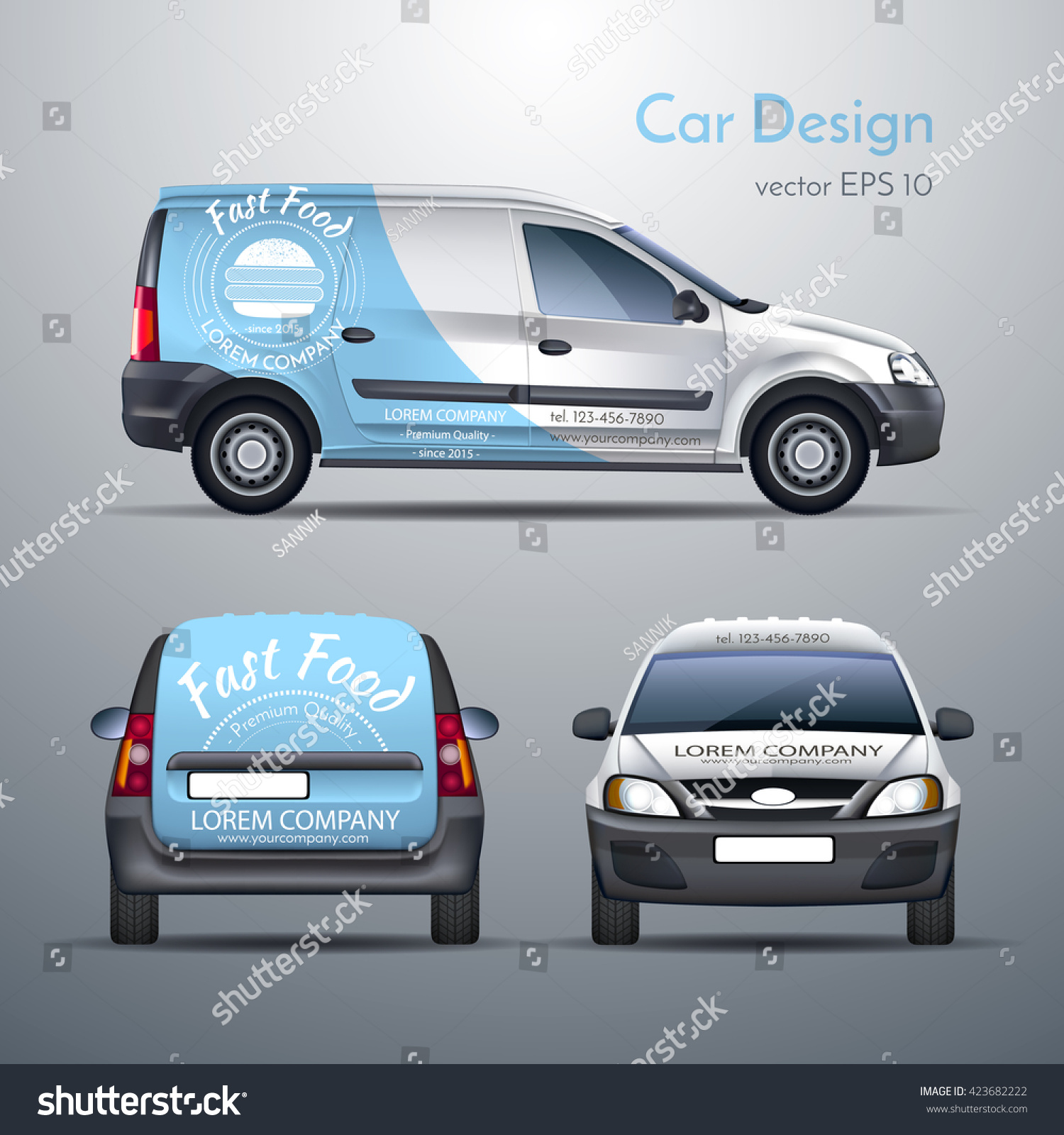 Bumper sticker design template - Realistic Vector Illustration Of A Car Template Design Stickers On The Car Food Delivery
