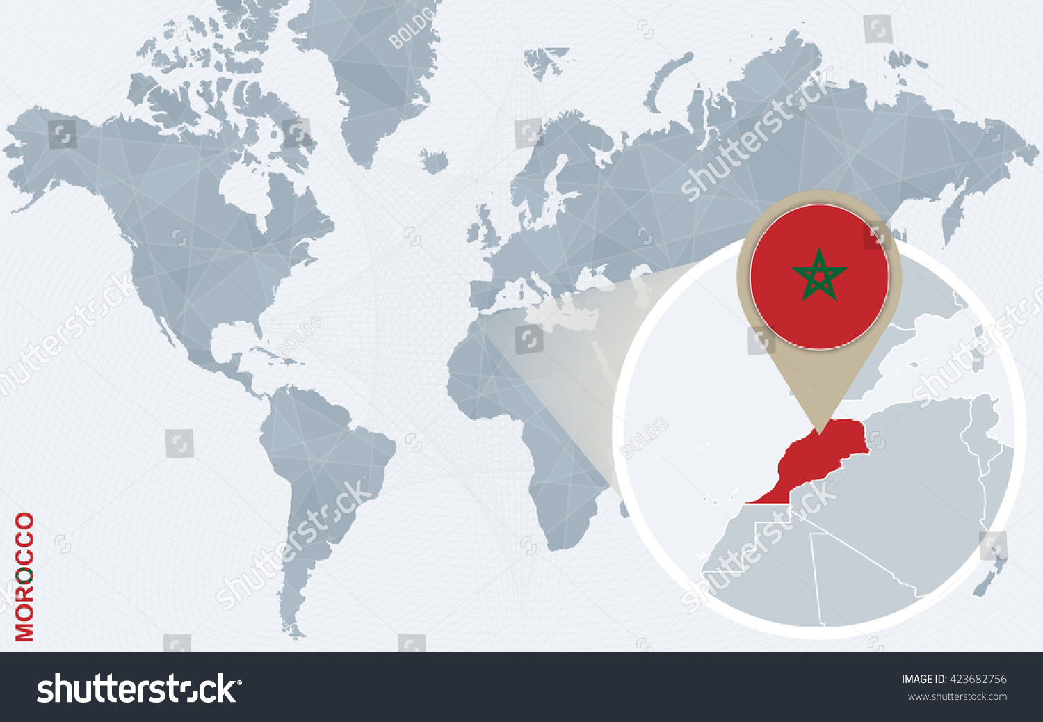 Abstract blue world map magnified morocco stock vector 2018 abstract blue world map with magnified morocco morocco flag and map vector illustration gumiabroncs Image collections
