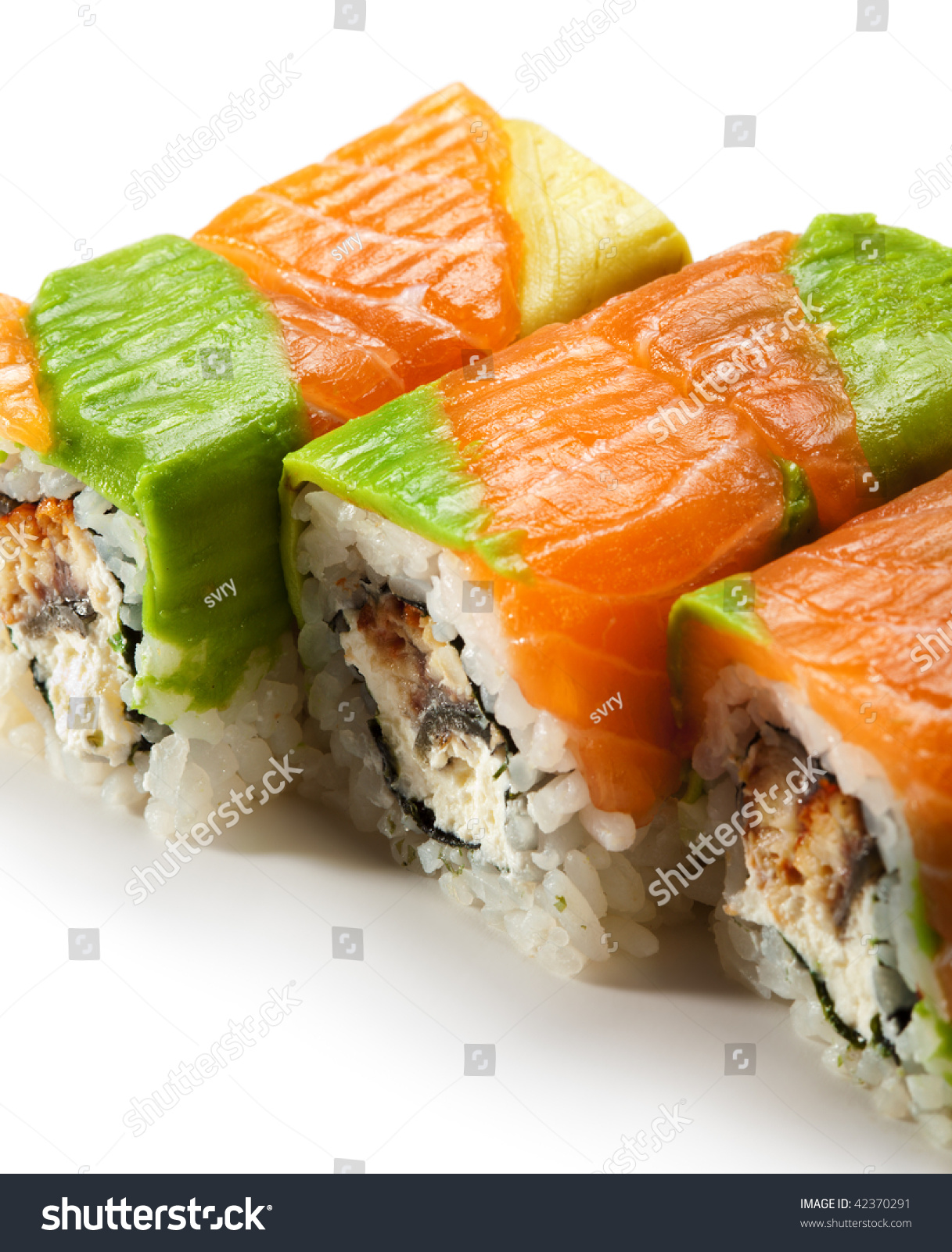 Rainbow Maki Sushi - Roll With Eel And Cream Cheese Inside ...