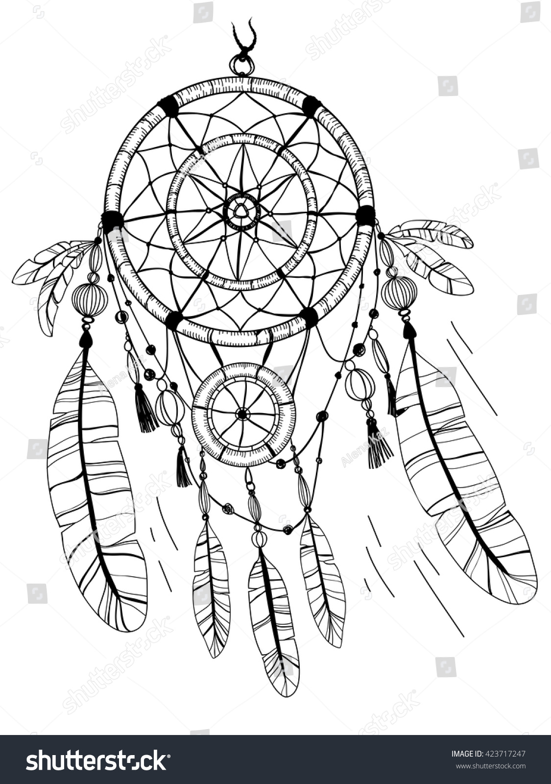 dreamcatcher feathers beads coloring page stock vector 423717247