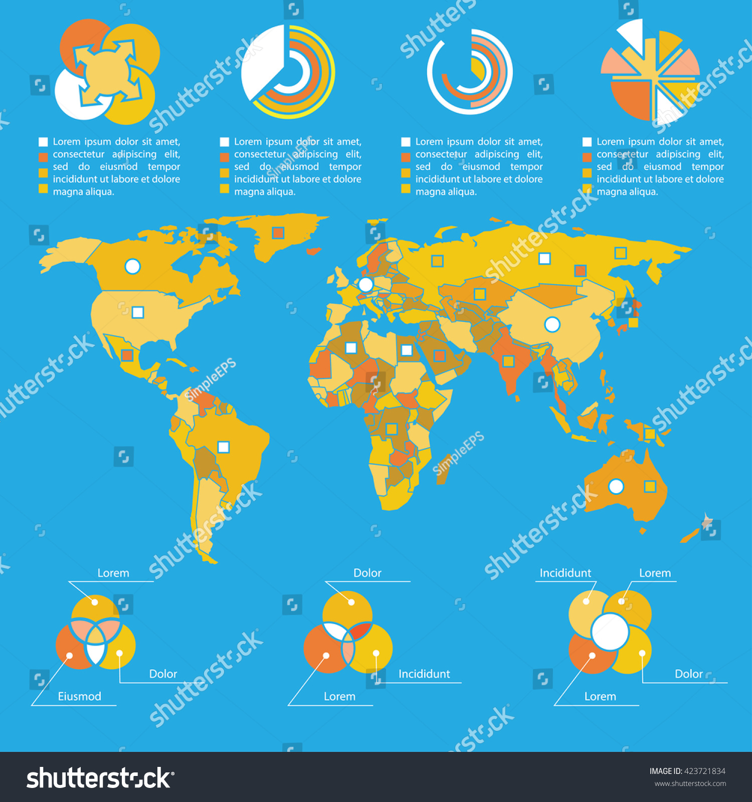 Infographics template world map vector illustration stock vector infographics template and world map vector illustration illustrated world map with the specified resource gumiabroncs Gallery
