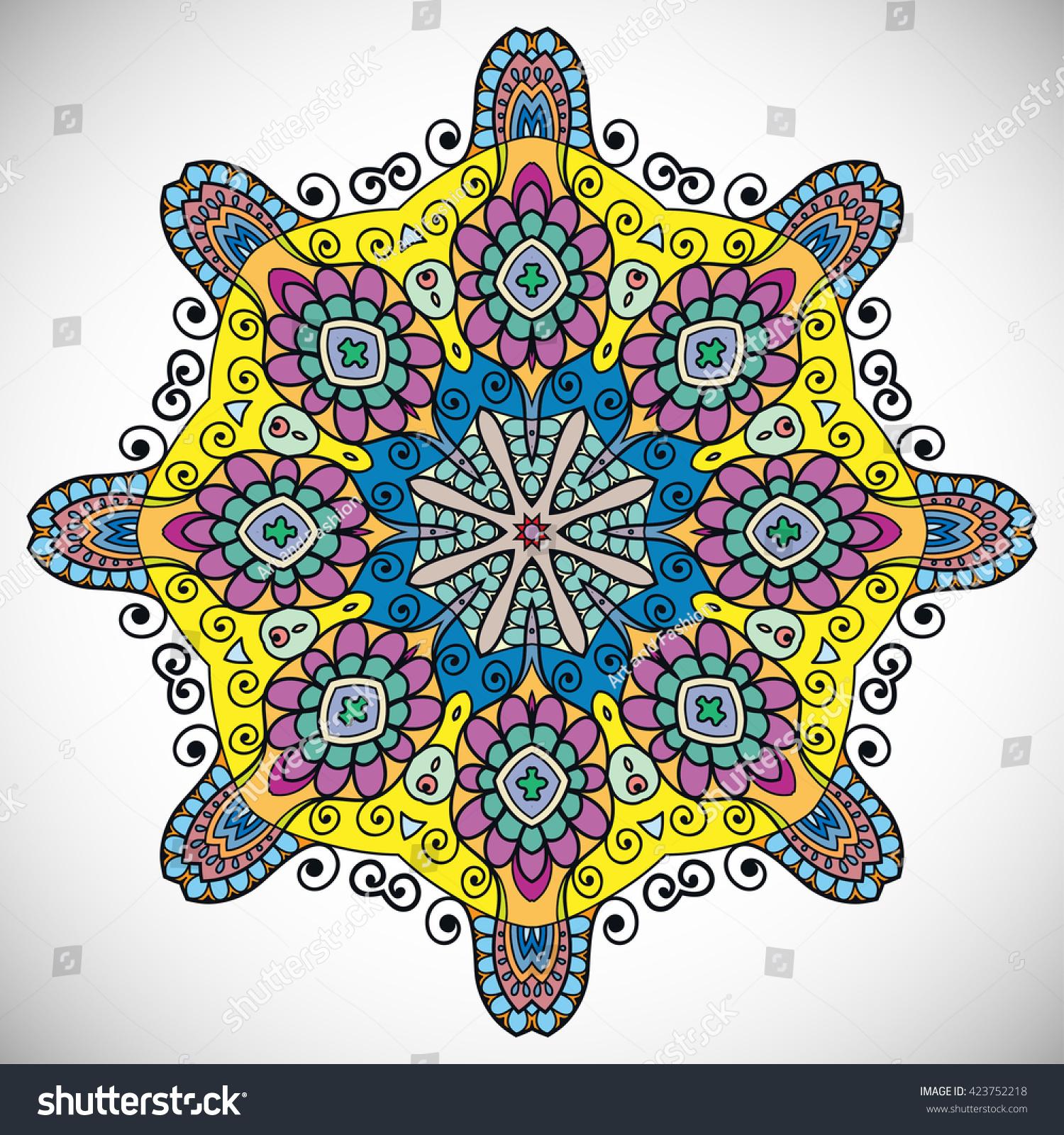 stock vector mandala flower decoration oriental pattern isolated design element zentangle style decor for