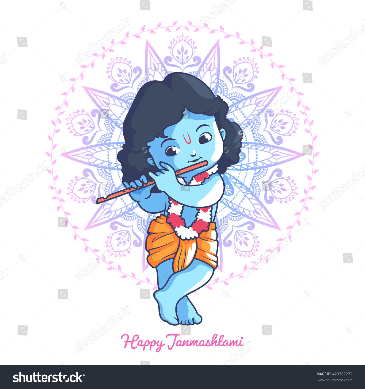 Little Cartoon Krishna Flute Greeting Card Stock Vector
