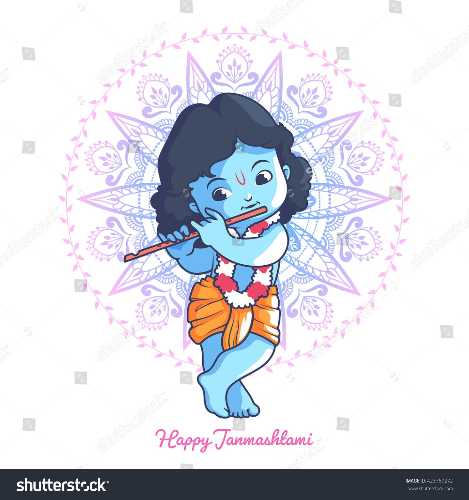 Cartoon Characters Krishna : Little cartoon krishna flute greeting card 스톡 벡터