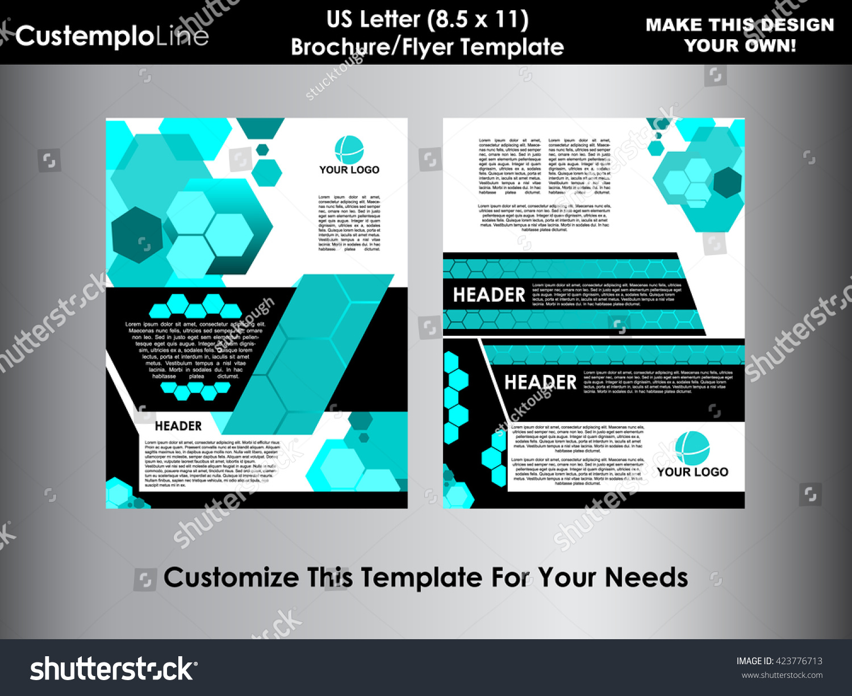 letter size brochure template - abstract hexagonal brochure flyer design vector template