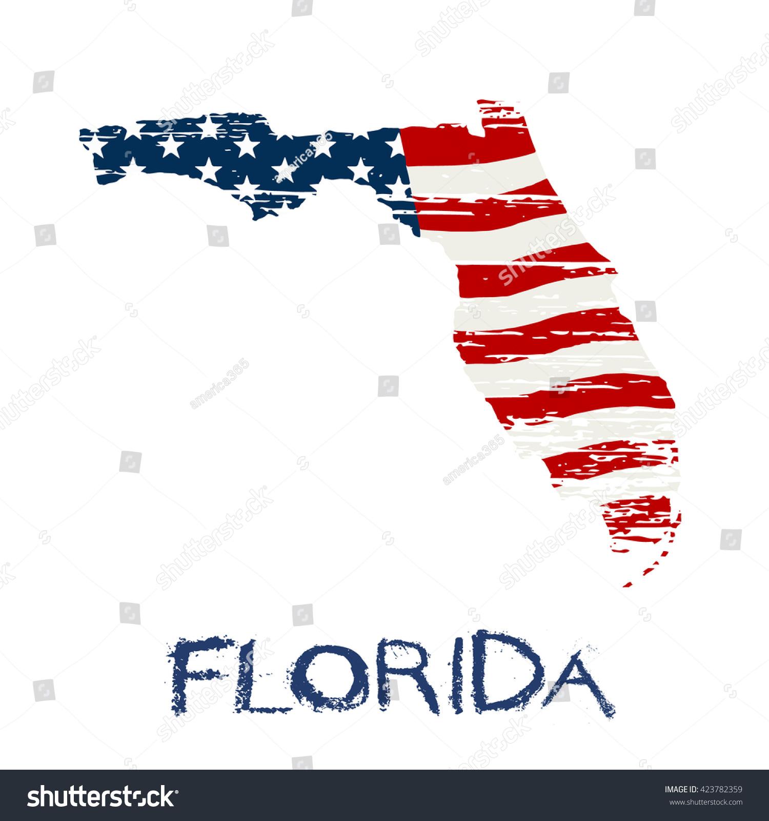 American Flag Florida Map Vector Grunge Stock Vector