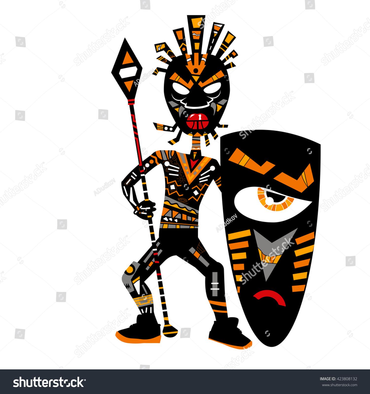 Black African Tribal Warrior Shield Spear Stock Vector