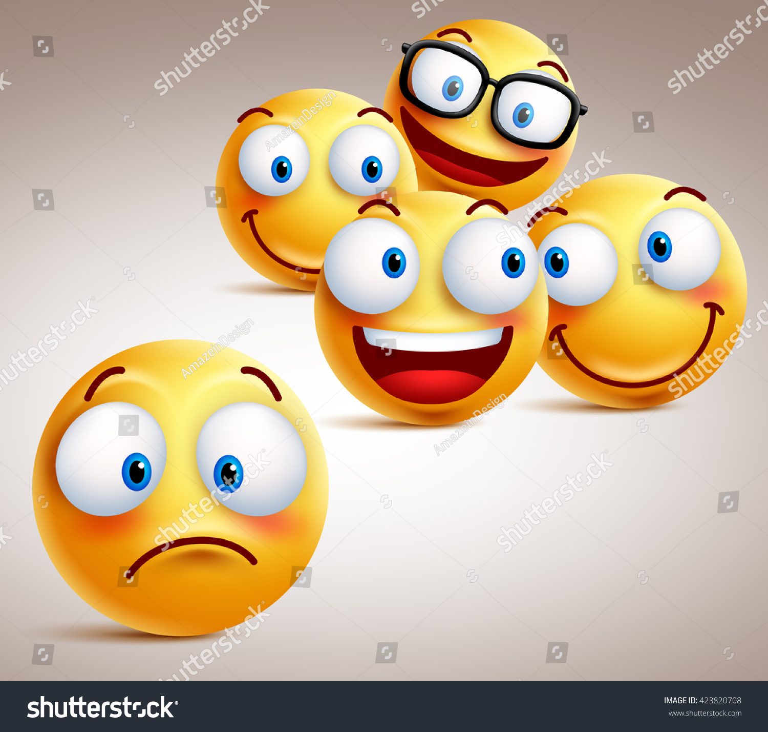 lonely smiley face vector character concept stock vector 423820708