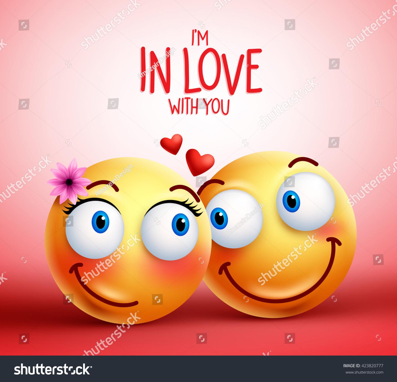 Smiley Face Couple Lovers Being Love Stock-Vektorgrafik (Lizenzfrei ...
