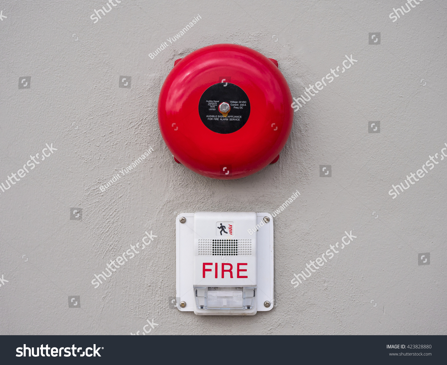 Red Fire Alarm Bell Push Button Stock Photo 423828880