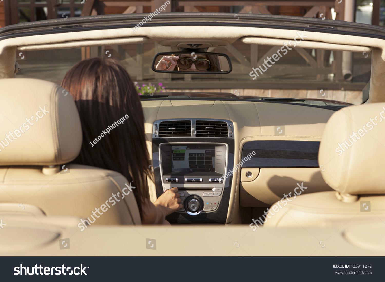 Beautiful Stylish Girl Adjusts Car Powerful Stock Photo