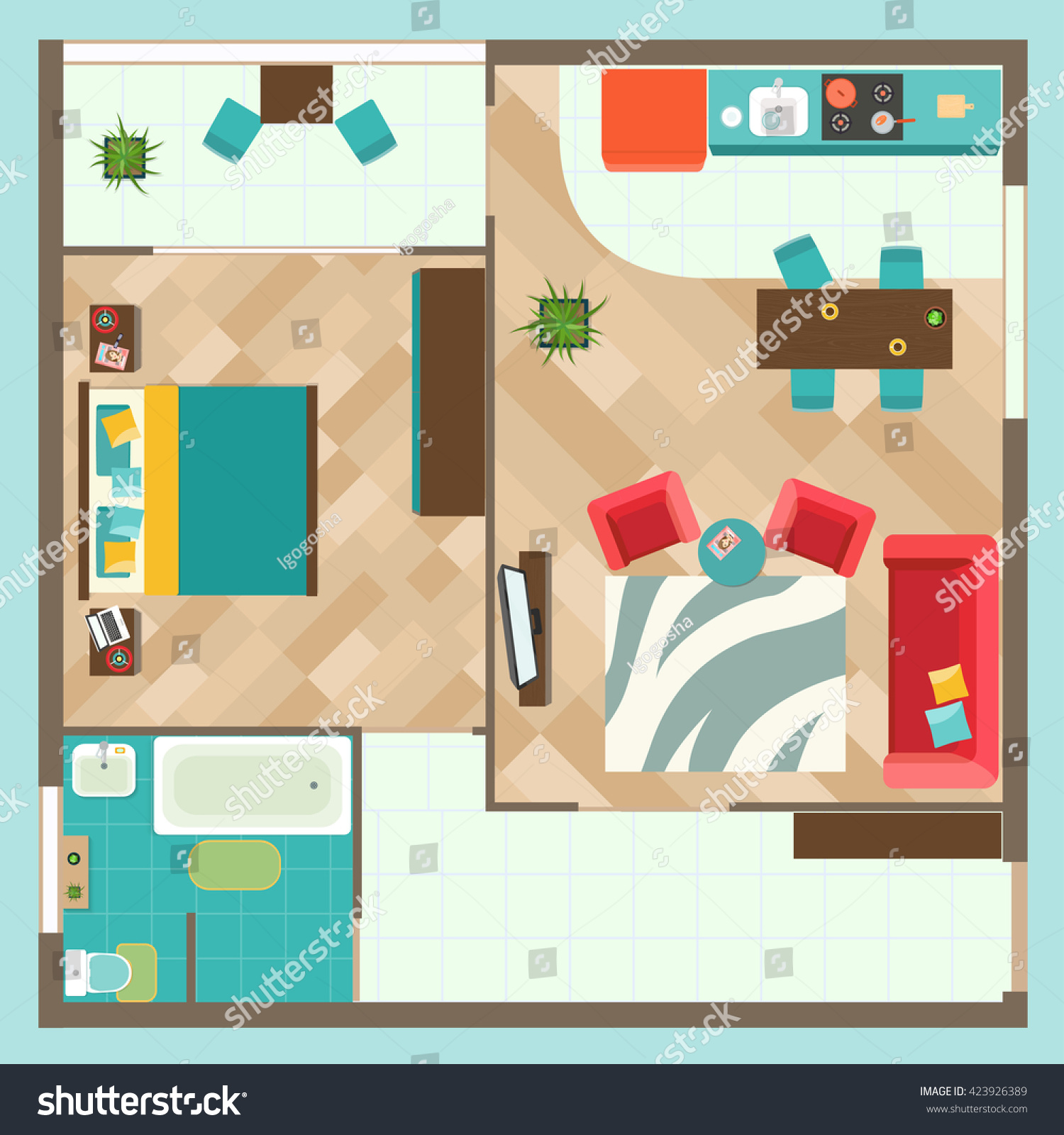 Flat Interior Top View With Living Room Bedroom Bathroom And Kitchen Furniture Vector Illustration