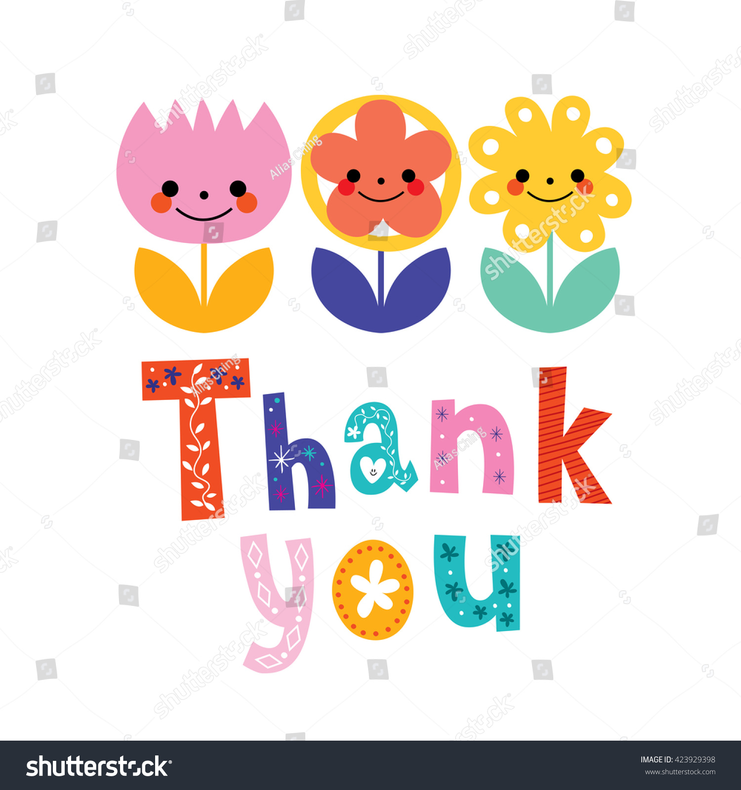 Thank You Greeting Card Stock Vector Royalty Free 423929398