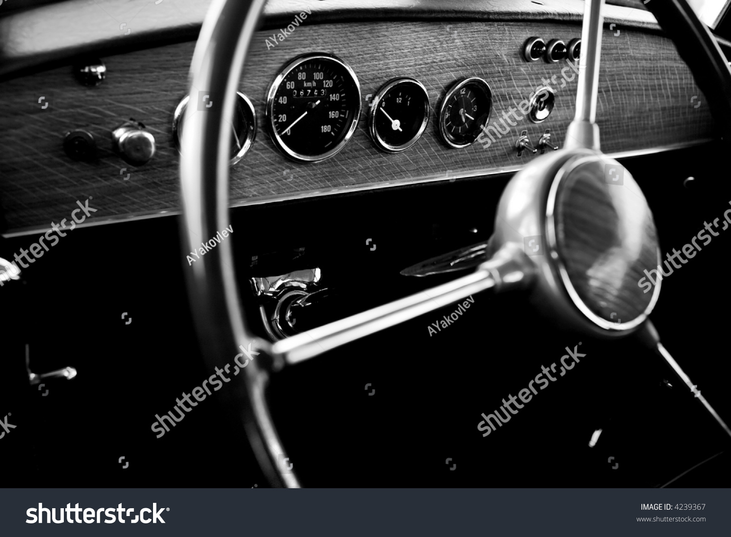 view of the interior of an old vintage car stock photo 4239367 shutterstock. Black Bedroom Furniture Sets. Home Design Ideas