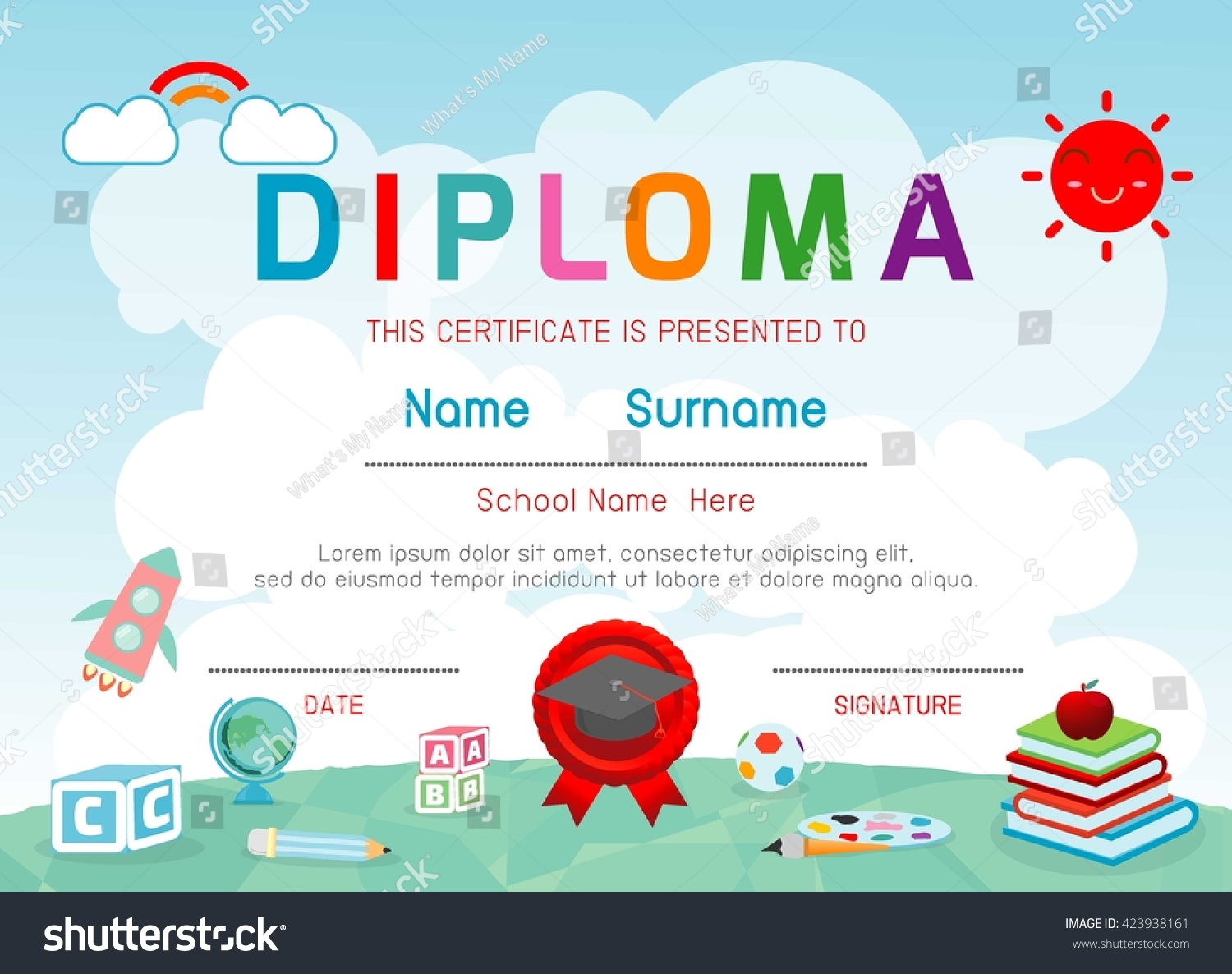 Certificates kindergarten elementary preschool kids diploma stock certificates kindergarten and elementary preschool kids diploma certificate background design template diploma template for 1betcityfo Image collections