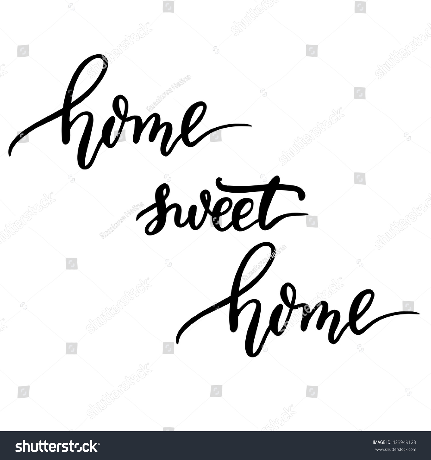 Home sweet hand lettering vector modern calligraphy