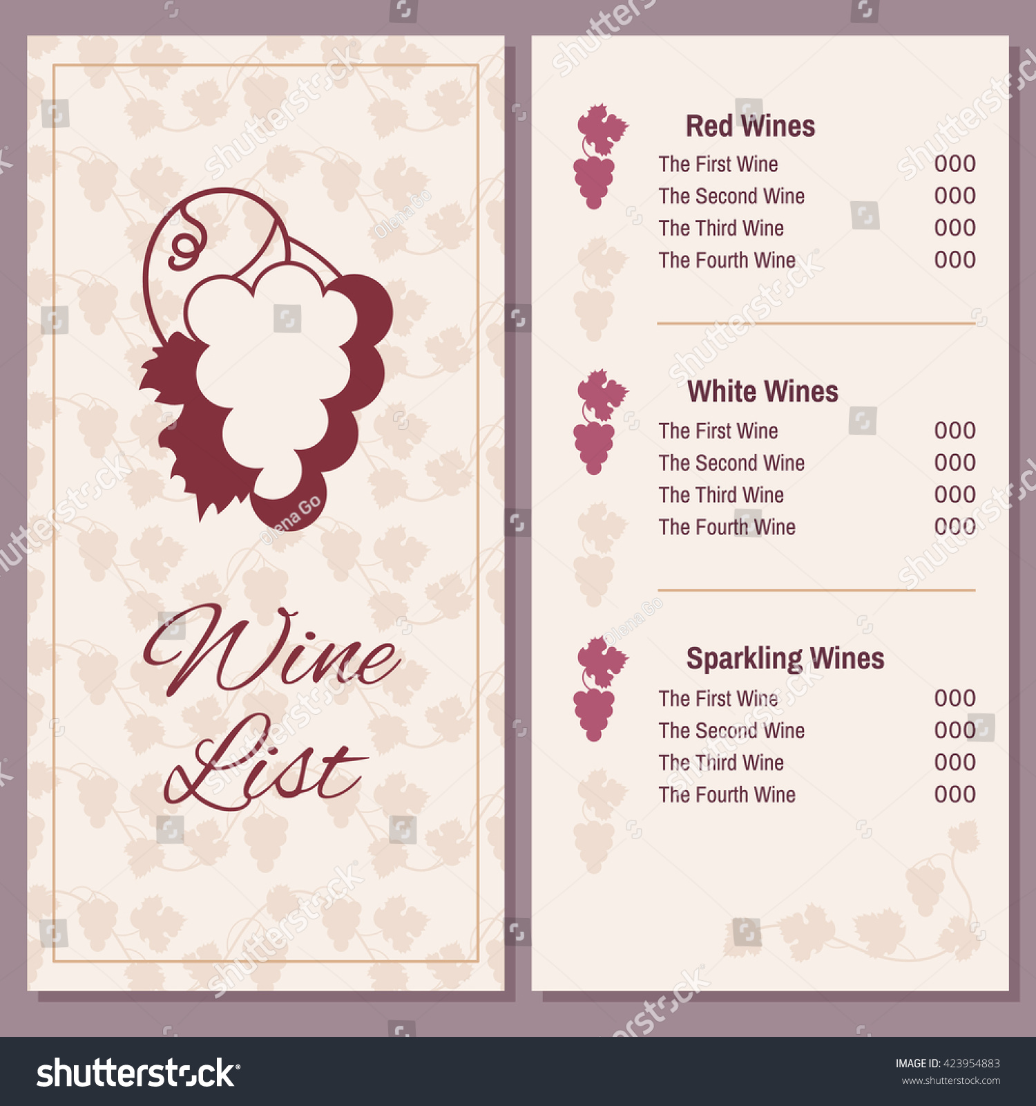 Wine list bunch grapes two pages stock vector 423954883 shutterstock wine list with a bunch of grapes two pages of wine menu template pronofoot35fo Gallery
