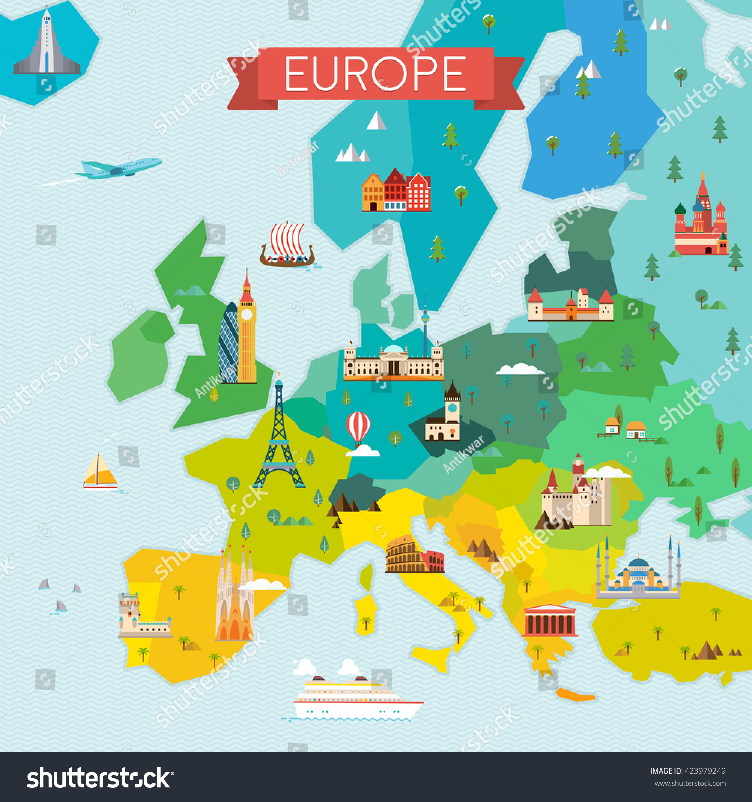 Map Europe Travel Tourism Background Vector Vector 423979249 – Travel Maps Europe