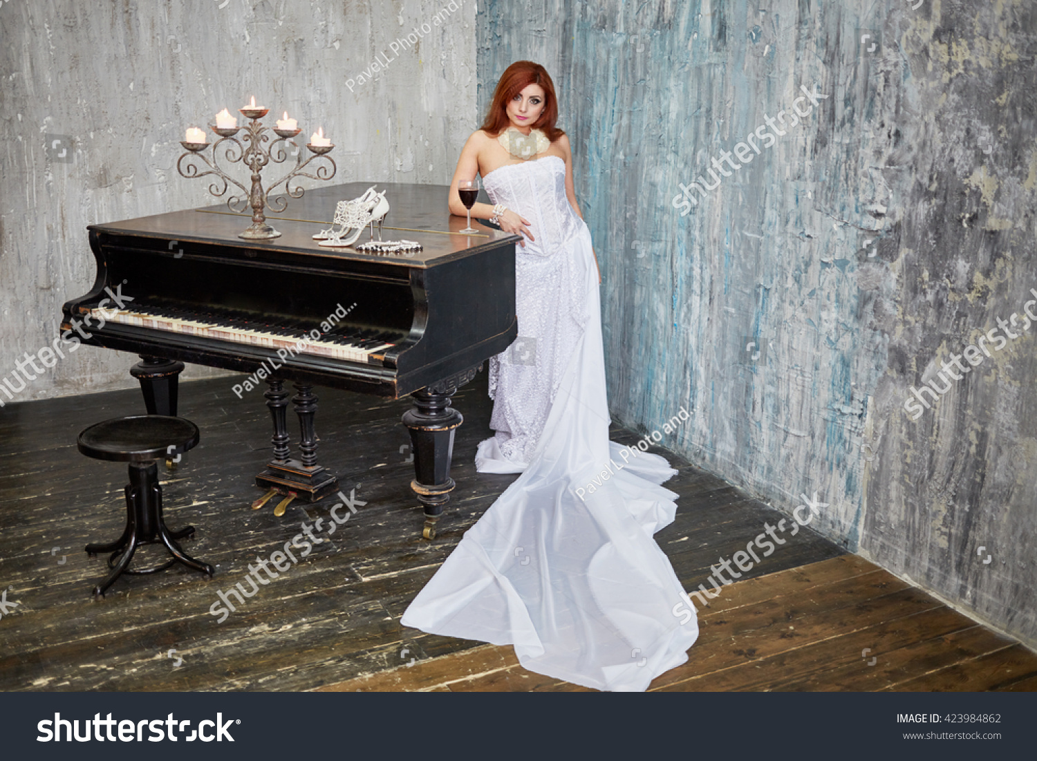 Redhaired Woman White Dress Stands Leaning Stock Photo (Royalty Free ...
